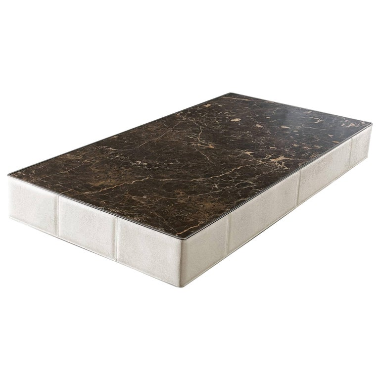 Walter A Coffee Table Marble-Top and Quilted Leather Structure For Sale
