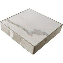 Walter B Coffee Table with Marble Top and Quilted Structure