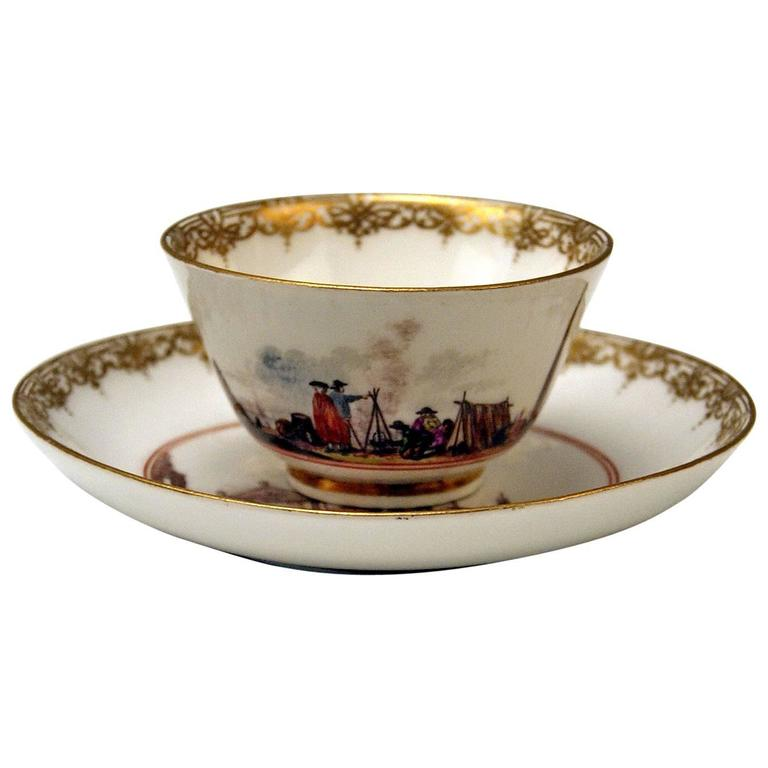 Meissen Small Painted Cup and Saucer Baroque Period Vintage B, circa 1735-1740