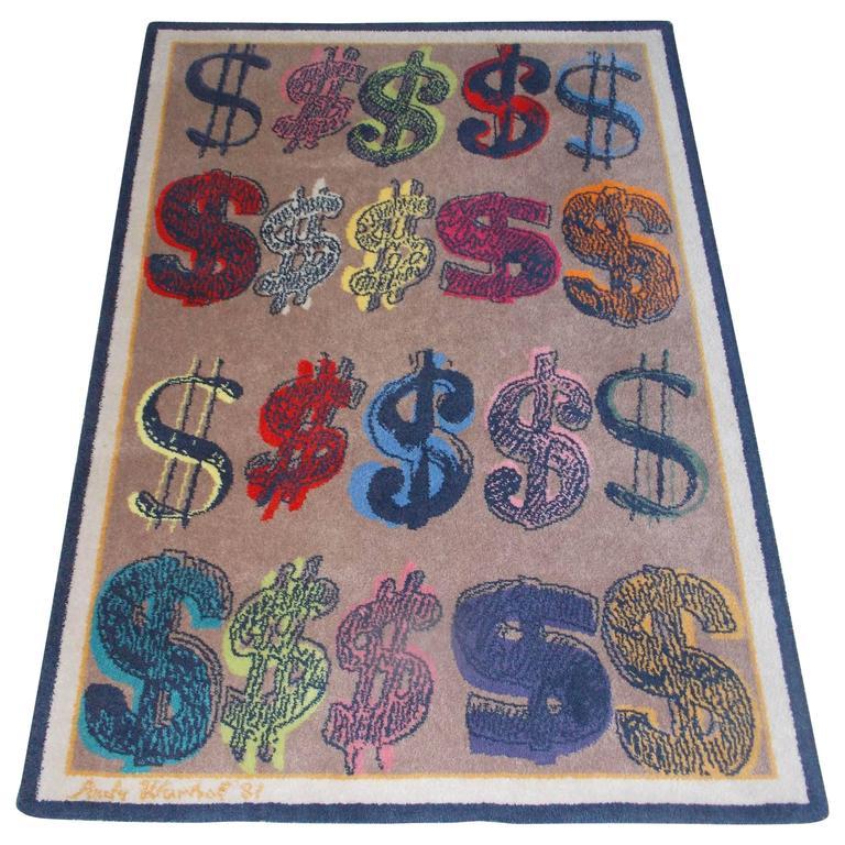 Large Andy Warhol Dollar Sign Rug At 1stdibs