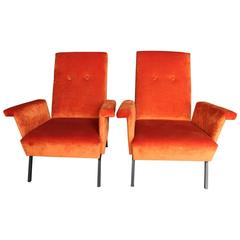 Pair of 1960s Armchairs in Orange Velvet