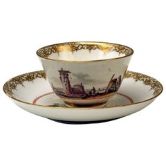 Meissen Small Painted Cup and Saucer Baroque Period Vintage C, circa 1735-1740