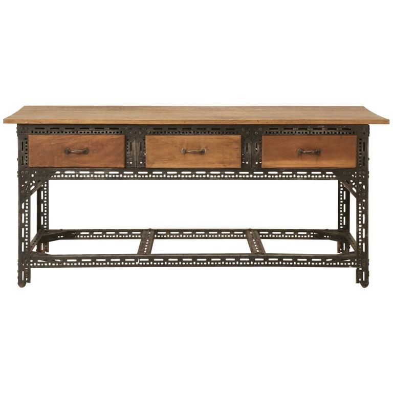 French Steel and Walnut Industrial Table