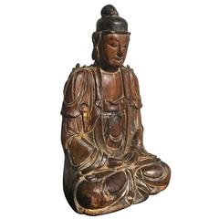 13th Century Song Dynasty Small Carved Wood Bodhisattva