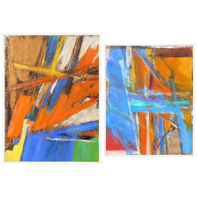 Pair of Vibrant 1970s Abstract Paintings #3