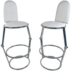 Pair of Mid-Century Style Chrome and Vinyl Bar Stools