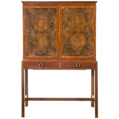 David Blomberg, Swedish Mahogany and Burl Walnut Cabinet on Stand