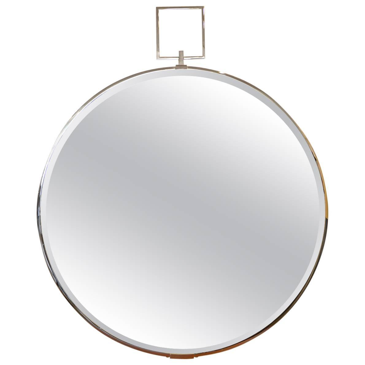 Beveled glass and chrome mirror for sale at 1stdibs for Beveled glass mirror
