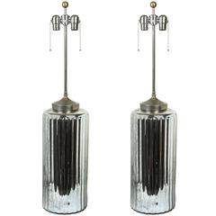 Pair of Large Mercury Glass Lamps