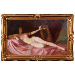 Maria Szantho, Original Oil on Canvas, Reclining Nude, circa 1930