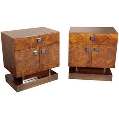 Pair of Exotic Burlwood Side Tables Raised on Nickeled Pedestal Base