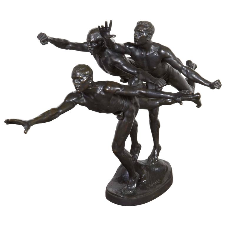 Large and Important Bronze Sculpture of Three Runners by A. Boucher - Siot For Sale