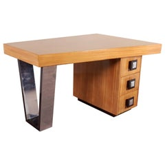 Modernist Blonde Mahogany Asymmetrical Partners Desk with Nickeled Detail