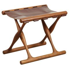 Danish Teak and Leather Folding Stool by Poul Hundevad