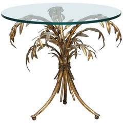 Gilded Iron Palm Tree Accent Table