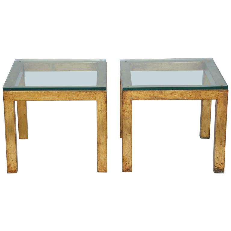 Pair of Gilded Iron Parsons Style Accent Tables