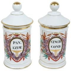 Pair of Paris Porcelain Apothecary Jars, 19th Century