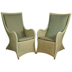 High Back French Wicker Chairs
