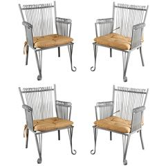 Set of Four French Metal Armchairs