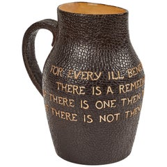 1920s Original Royal Doulton Leather Pitcher Decorated with Writing