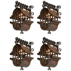 4 Unusual Northern European Patinated Iron Sconces
