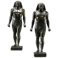 Pair of Patinated Bronze Small Statues of Antinous