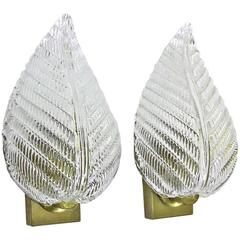 Pair of Barovier Murano Italian Clear Glass Leaf Wall Sconces
