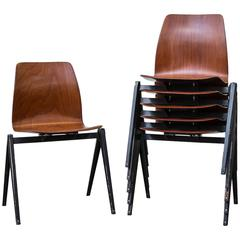 Set of Six Jean Prouve Inspired Industrial Stacking Chairs