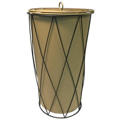 Wonderful Vintage Lidded Wire Basket or Umbrella Stand