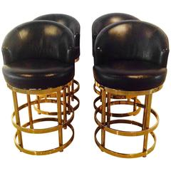 Vintage Set 4 Brass Swivel Counter Bar Stools Kitchen Island Hollywood Regency