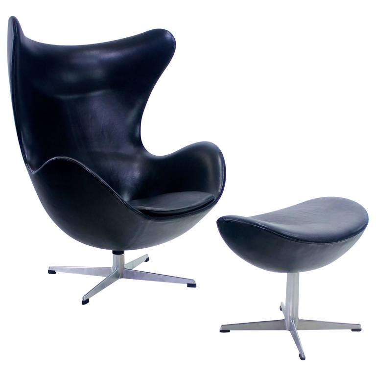 rare early danish modern egg chair and ottoman designed by arne jacobsen at 1stdibs. Black Bedroom Furniture Sets. Home Design Ideas