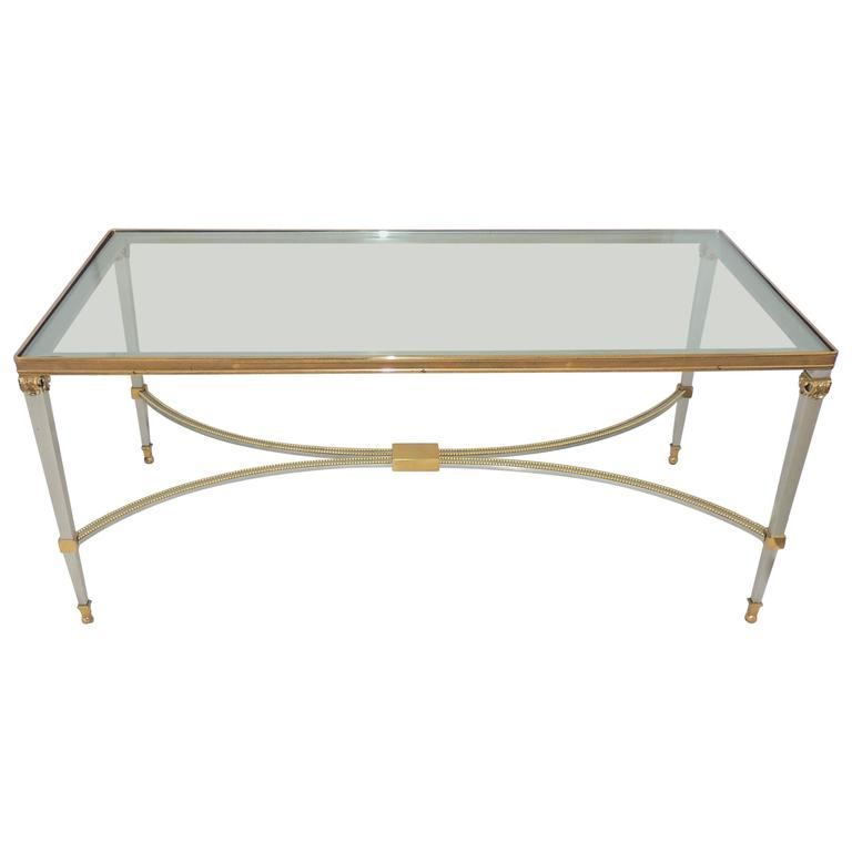 Wonderful Silver Bronze Bagues Cocktail or Coffee Table Glass Top Jansen Accent