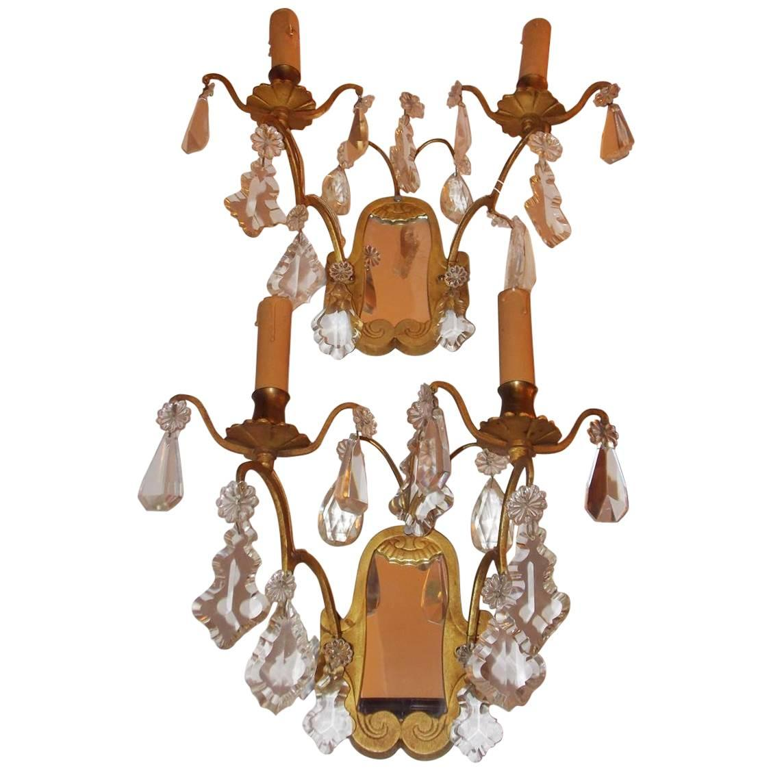 Pair of French Gilt Bronze & Crystal Mirrored Wall Sconces, Circa 1870