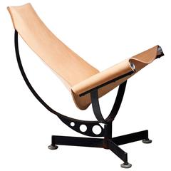 Max Gottschalk Leather Sling Lounge Chair, USA, 1960s