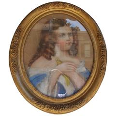 American Oval Pastel of Young Lady Grasping Dove, Cola, SC. Circa 1865