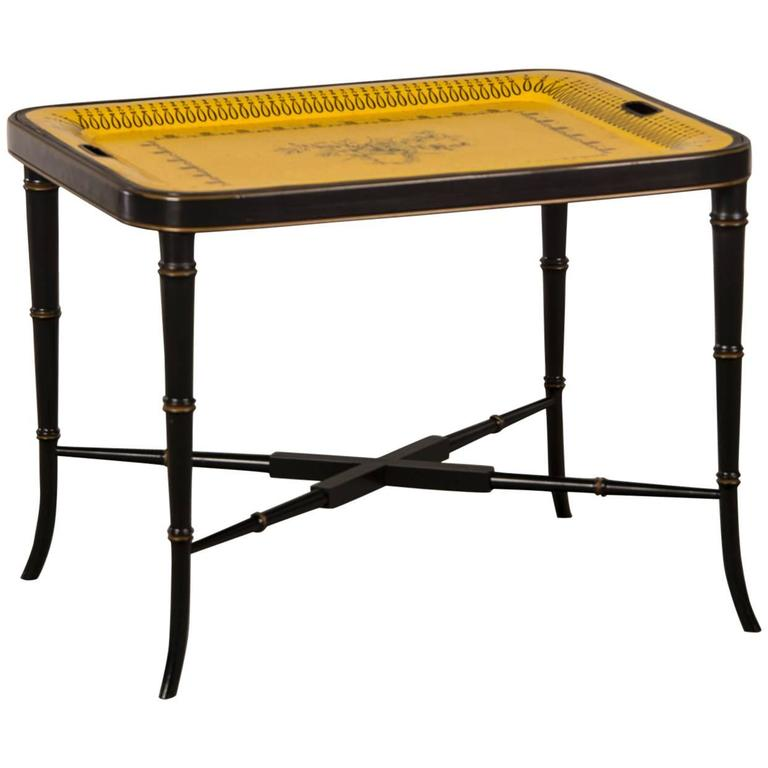 French Painted Tôle Tray on a Faux Bamboo Custom Stand, circa 1880