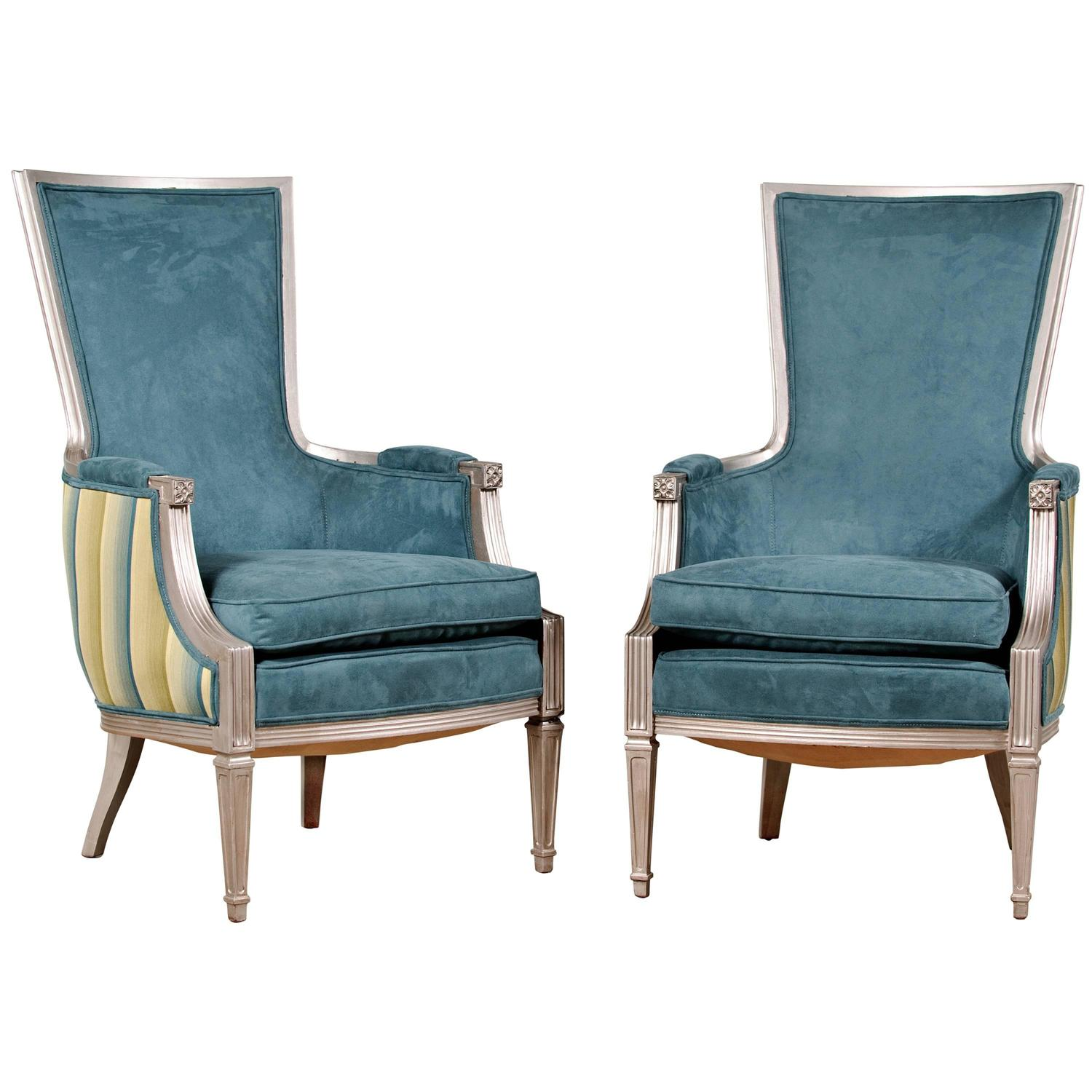 Vintage Neoclassic Chairs in Aqua and Faux Silverleaf For Sale at