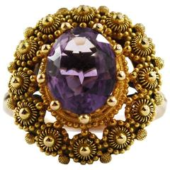 Rare Georgian Antique Gold Amethyst Ring Cannetille, circa 1830