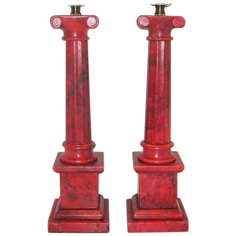 Coral Color Alabaster Table Lamps