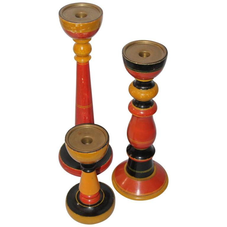 Collection of Three Polychrome Original Painted Candleholders