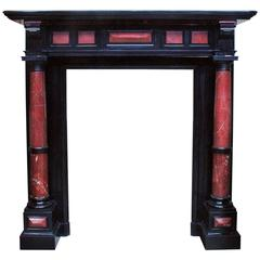 Napoleon III Style Fireplace with Columns, Black Belgian Marble and Red Marble