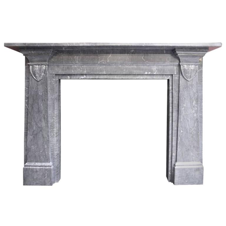 19th Century William IV Grey Marble Fireplace Mantle