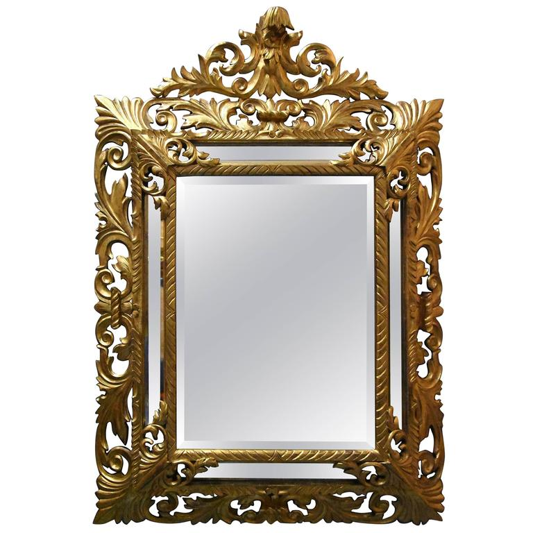 Large 19th Century Italian 'Florentine' Superbly Carved Giltwood Cushion Mirror