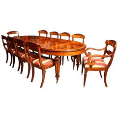 Stunning Burr Walnut Marquetry Dining Table 10 Chairs