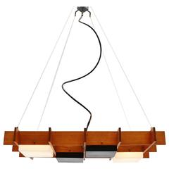 Esperia Ceiling Lamp in Teak and Plexi Cube Frame, Italy, 1950