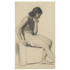 19th Century Life Drawing of a Seated Male Nude