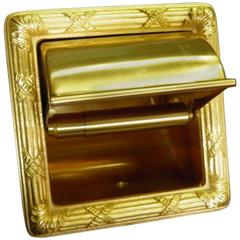 Luxe Sherle Wagner 22-Karat Gold-Plated Recessed Toilet Tissue Holder