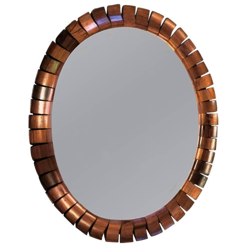 Small solid segmented rosewood wall mirror for sale at 1stdibs for Small wall mirrors for sale