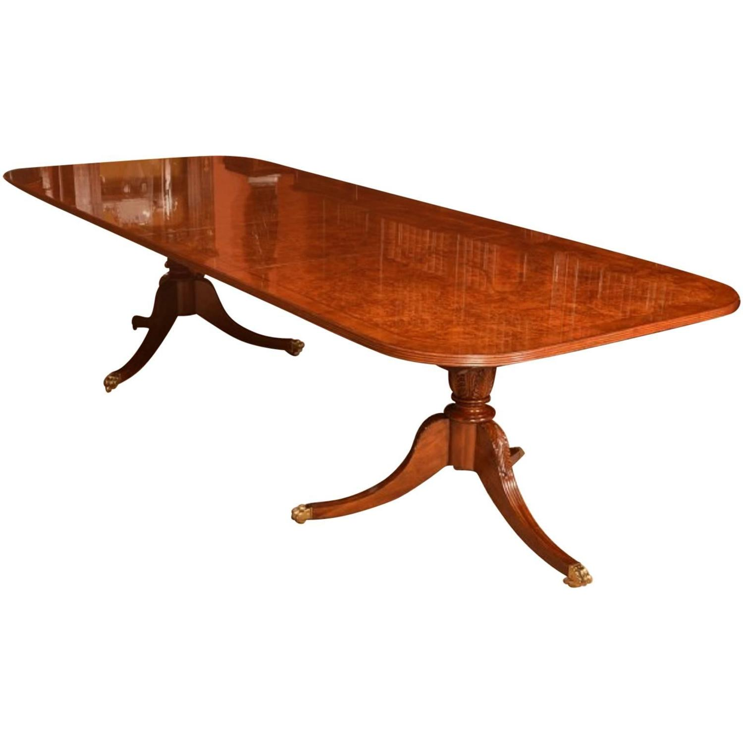 Burr walnut regency style twin pillar dining table for for Pillar dining table