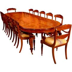 Burr Walnut Marquetry Dining Table and 12 Chairs